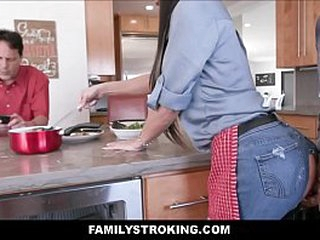 Tattooed Big Pair Blackness MILF Show Mom Ripped Jeans Leman Away from Son Next To Dad In Family Kitchen