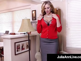 Busty Milf Julia Ann Bangs Their way Hot Pussy surrounding a Dick Dildo!