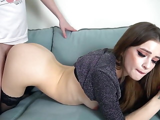 Babe mad about from behind anent butt plug