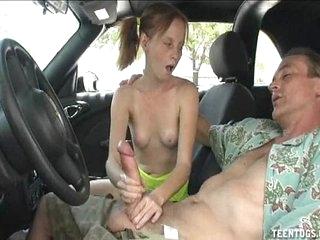 Horny Teen Babe Handjob In The Motor vehicle