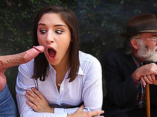 Big ass Teen Abella suck a big dick surrounding her Grandpa beside her