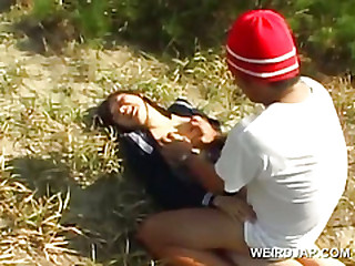 Innocent asian school girl forced into hardcore coitus alfresco